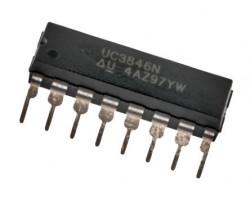 Texas Instruments UC3846N V-15В, 500кГц, вихід-13.5В/500мА, DIP16, ШИМ контроллер